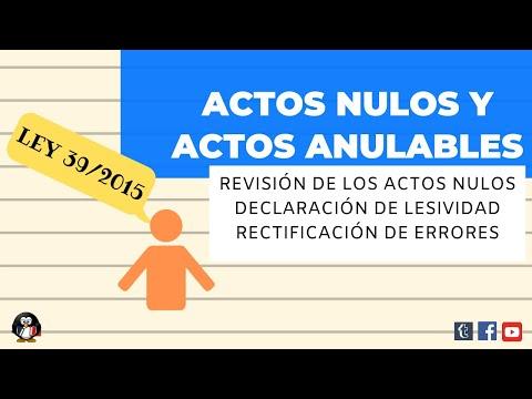 Ley 39/2015. ACTOS NULOS Y ANULABLES