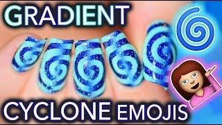 🌀Gradient Cyclone Emoji Nails 🌀