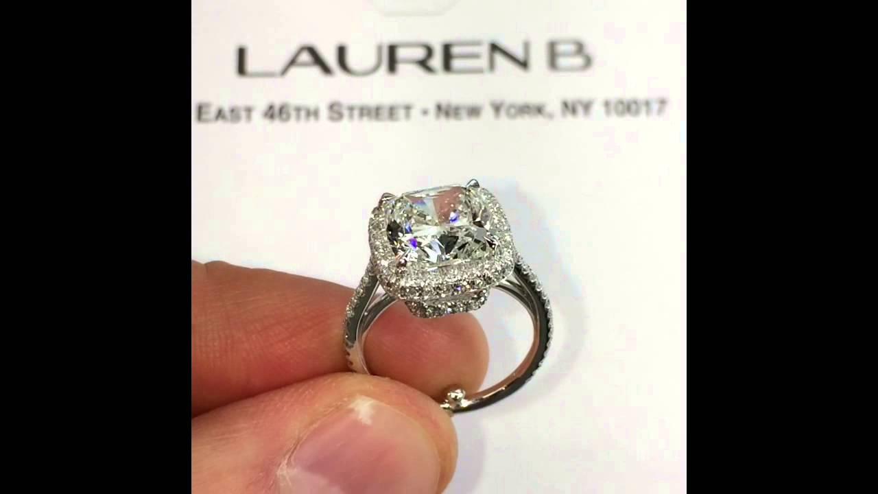 350 Carat Cushion Cut Diamond Engagement Ring In Raised Halo