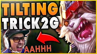 THIS GAME 100% TILTED TRICK2G FOR LIFE! (EXTREME RAGE) FT. FULL AD 1V9 KLED - League of Legends
