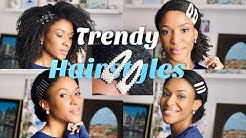 HOW TO WEAR Barrettes, Hair Pins & Clips • Trendy Hairstyles on Natural kinky curly hair ~ Ursula
