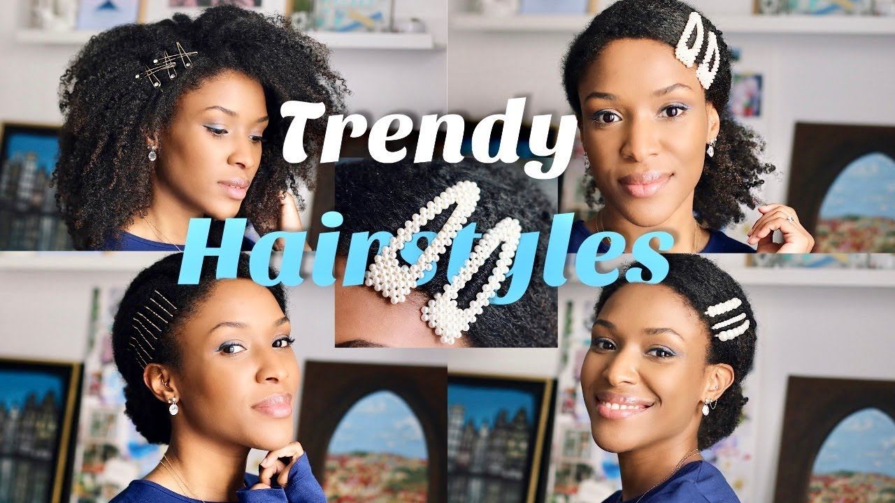 how to wear barrettes, hair pins & clips • trendy hairstyles on natural kinky curly hair