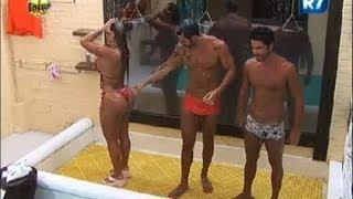 Ísis, Thyago e Victor tomam banho triplo na tarde desta quart…