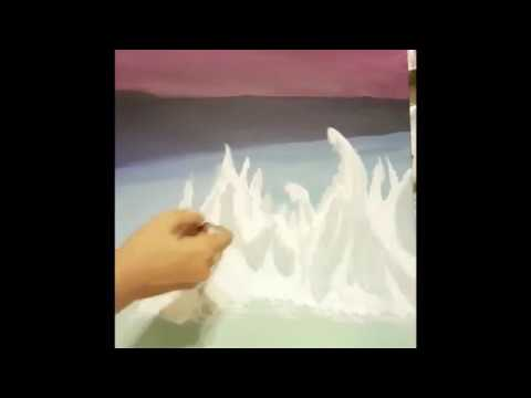 how to paint an ice landscape – step by step || acrylic paints