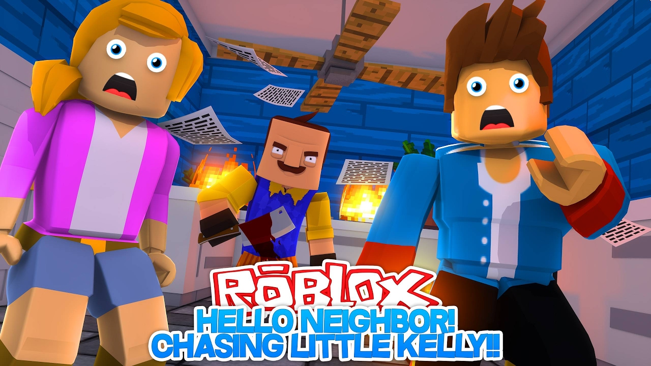 Roblox Hello Neighbor Chasing Little Kelly W Little Donny