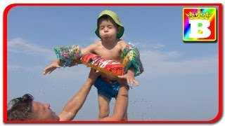 Kids playing in water with McQueen ring, funny for children with SOFI Princess and Bogdan's Show
