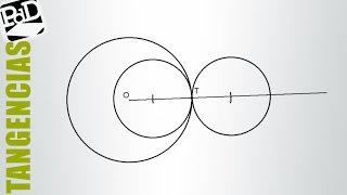 Circunferencias tangentes a otra, conociendo el punto de tangencia y el radio (Tangencias).