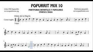 10 de 30 Popurrí Mix Partituras Populares Infantiles de Corno Inglés Himno de la Alegría When the