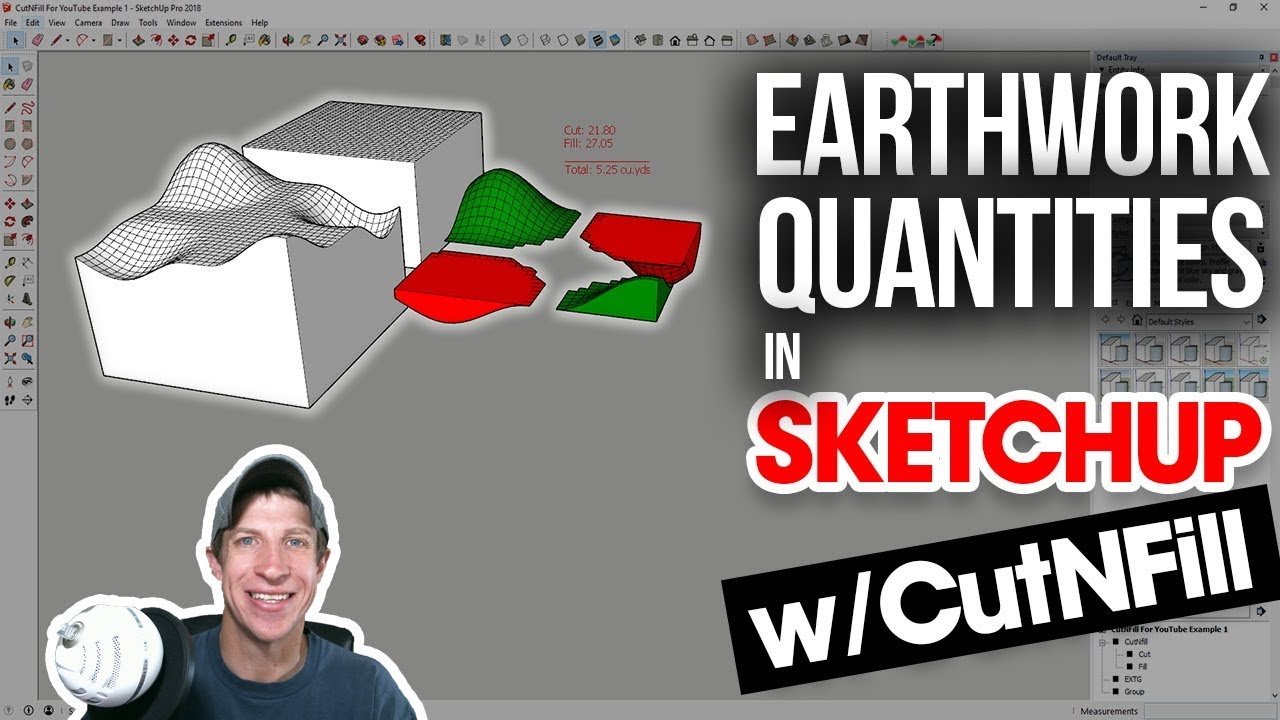 EARTHWORK QUANTITIES IN SKETCHUP with The CutNFill Plugin - The