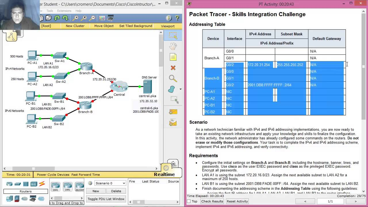 8 4 1 2 packet tracer - skills integration challenge