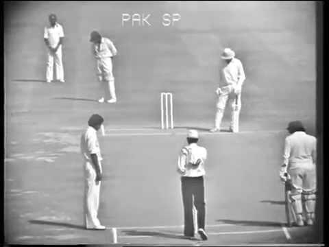 Kapil Dev's 1st over in test cricket (Pakistan vs India 1978-79)