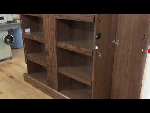 Walnut Double Bookcase With Hidden Compartments