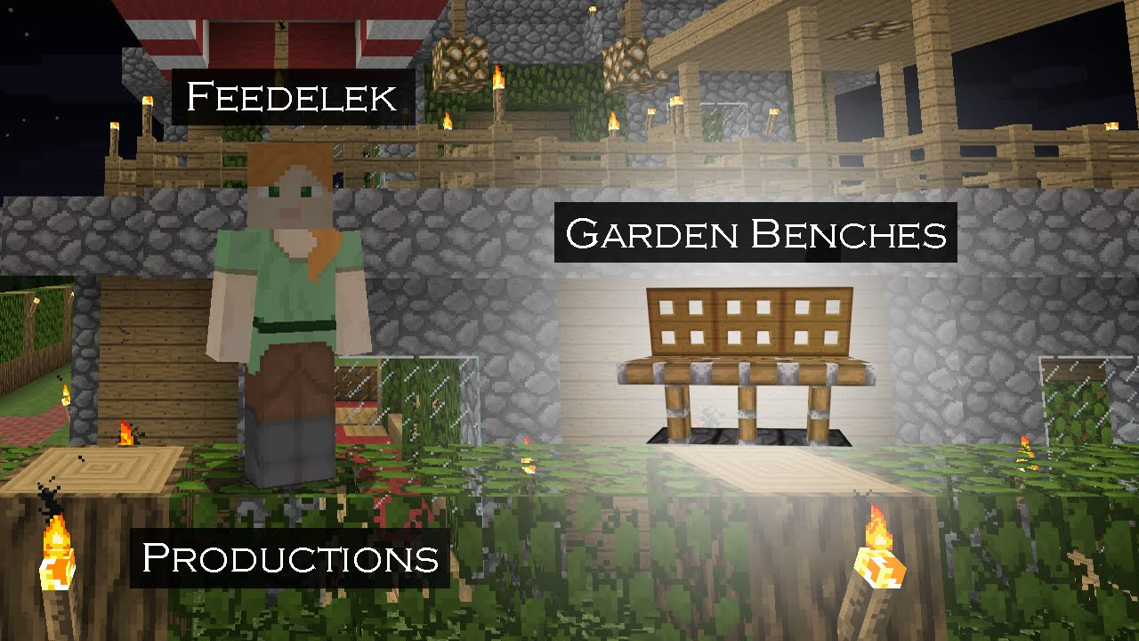 Minecraft How To Basic Garden Benches Youtube