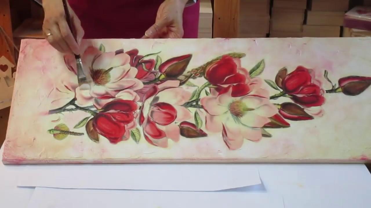 Magnolia Flowers , DIY Decoupage on canvas tutorial