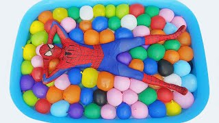 Spider Man Popping 300 Water Balloons!