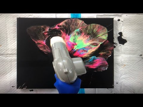 Acrylic Pouring Dutch Pour Technique on a Black Canvas | Fluid Painting using Fluorescent Paints