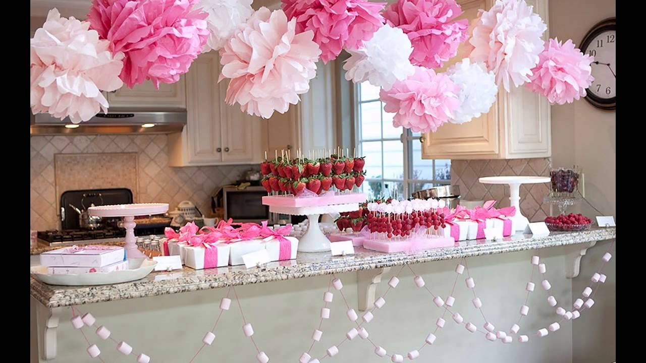 Cute girl baby shower decorations youtube for Baby shower decoration free