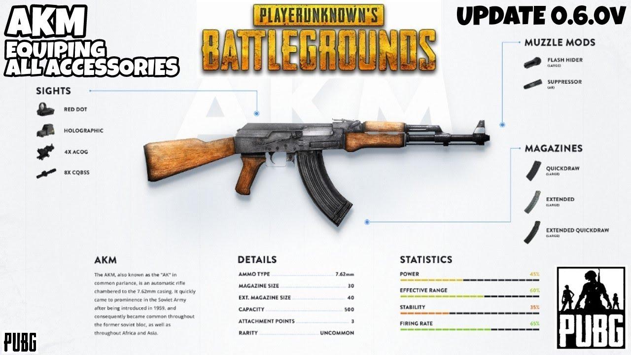 Pubg Guns: PUBG MOBILE (GUNS) AKM ASSULT RIFLE COMPLETE ACCESSORIES