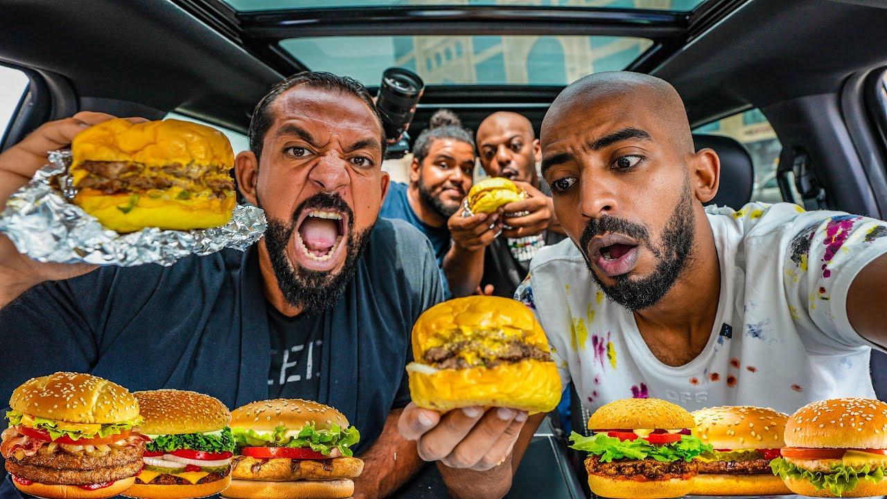 تحدي البرجر المشوي في السيارة 🍔 Grilled Burger Challenge In The Car