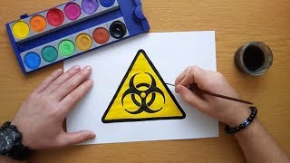 How to draw a caution biohazard sign