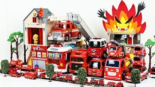소방차 기지에서 총출동 뽀로로 장난감 친구들과 공룡들의 소방관 놀이 Fire Trucks and Fire Station Play Set