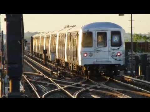 IND Rockaway Line: R46 A Trains at Broad Channel (Evening)