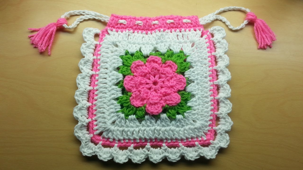 Crochet Bags And Purses Tutorial : How To #Crochet drawstring granny square #handbag #purse TUTORIAL ...