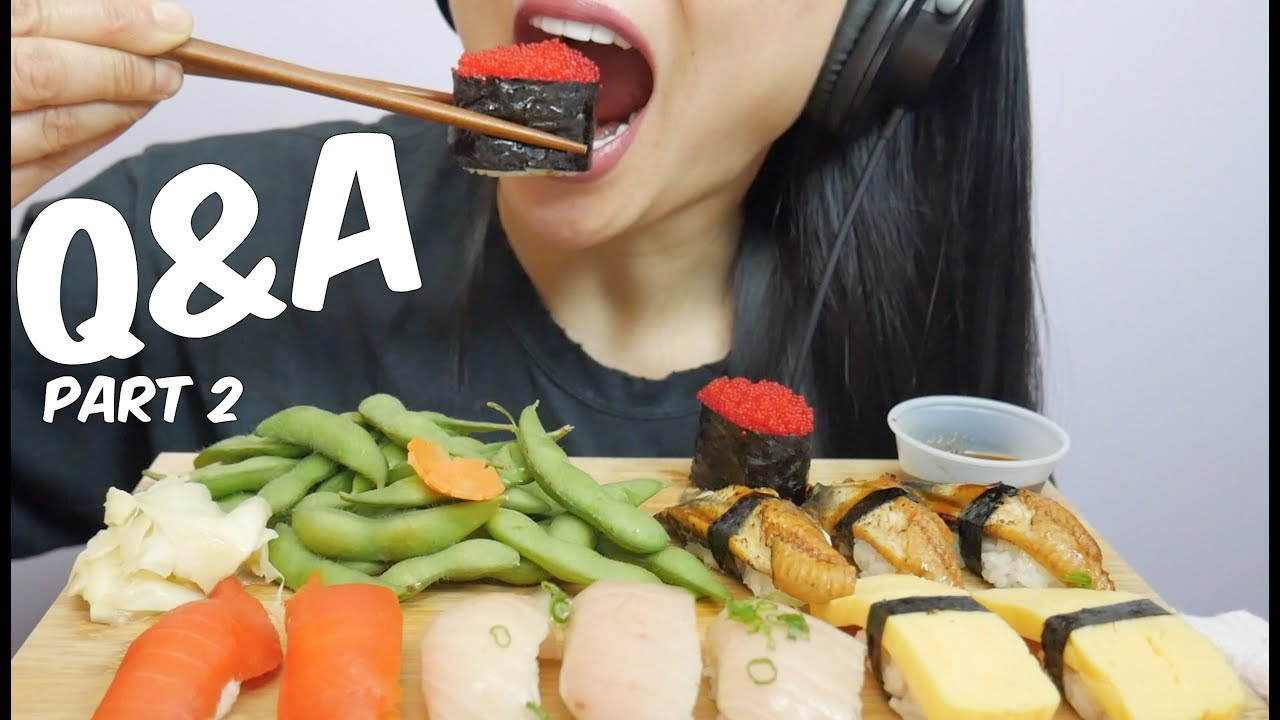 Asmr Q A Part 2 Sushi Eating Sounds Sas Asmr Youtube Due the vast amount of food she eats while recording mukbang videos, everyone wonders how she keeps her. asmr q a part 2 sushi eating sounds sas asmr