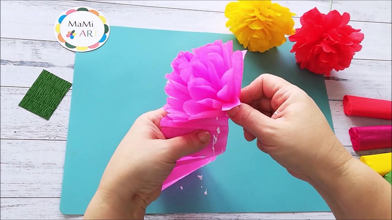 Latwy Kwiatek Z Bibuly Marszczonej Easy Crepe Paper Flower Youtube