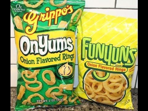 Grippo's: OnYums Onion Flavored Rings Vs Funyuns: Onion Flavored Rings Taste Test