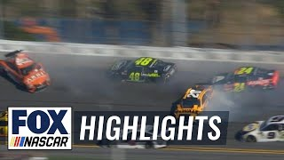 Johnson, Byron, & Suárez wreck as Busch wins stage 1| 2018 DAYTONA 500 | FOX NASCAR