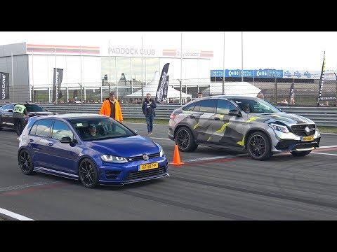 VW Golf 7 R vs BRABUS GLE63 S AMG vs Nissan GT-R Switzer P800
