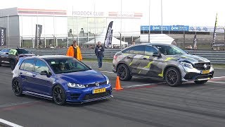 VW Golf 7 R vs BRABUS GLE63 S AMG vs Nissan GT-R Switzer P800