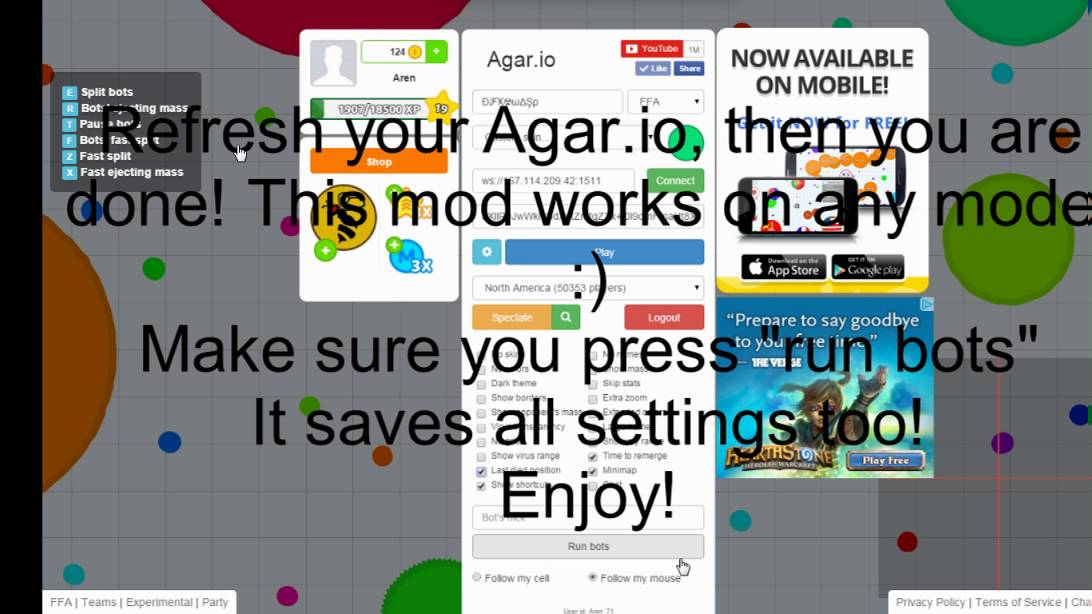 how to get bots in agario chrome extension extension not working