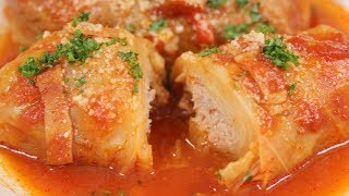 Cabbage Rolls Recipe (Tender Cabbage Stuffed with Juicy Ground Meat Filling) | Cooking with Dog