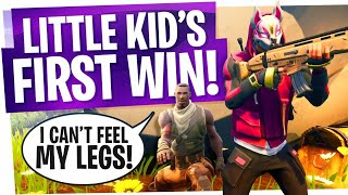 Little Kid is SUPER HAPPY after FIRST WIN in Fortnite - First Victory Royale & Live Reactions