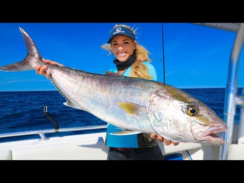GIANT Amberjack Contaminated With Worms? (Catch Clean Cook) Grilled Fish Steaks!