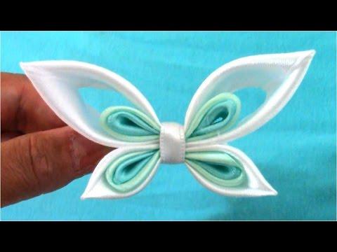 Mariposas Kanzashi butterflies ribbons en cintas para el cabello