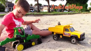 Tonka Dump Truck for Kids - Unboxing, Playing, Digging - John Deere Backhoe Excavator
