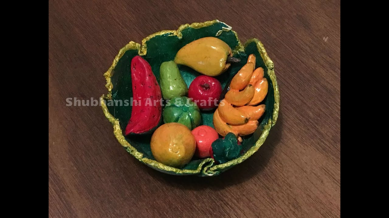 DIY   Paper Mache Clay Fruit Bowl   Fruit Bowl made with Paper Mache Clay