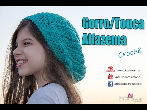 Gorro de Crochê Alfazema - passo a passo -  ProfessoraSimone - YouTube 0be84235662