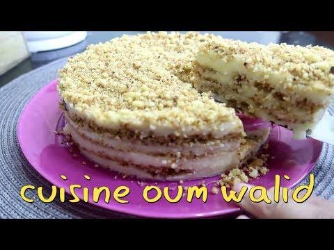 ام-وليد-كيك-بارد-سريع-ورائع-بالكرمبل-والكريمة-oum-walid-gâteau-facile-sans-cuisson