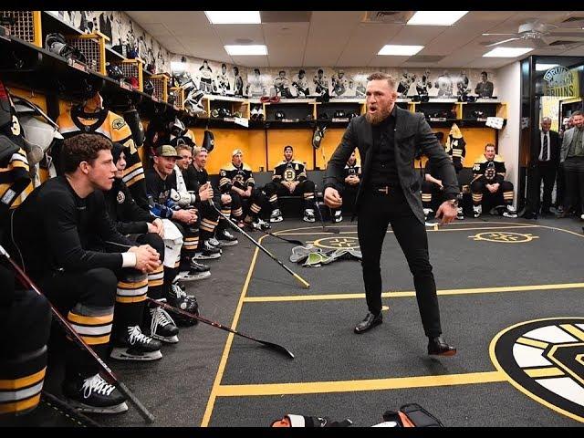 Conor McGregor drops first Puck for Boston Bruins, Fans Go Crazy