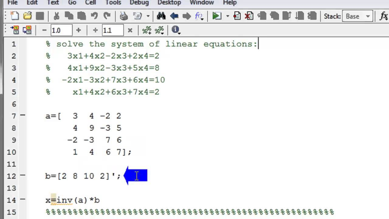 Solve a system of linear equations in matlab using matrix for Table 2 matrix matlab