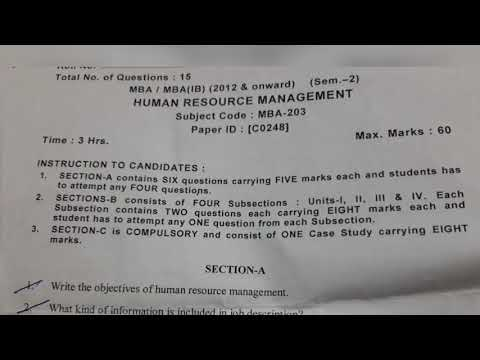 HRM question paper (MBA 2nd sem) (Human resource management)