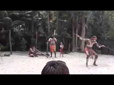 ABORIGENS DANCING AND PLAYING INSTRUMENTS IN AUSTRALIA