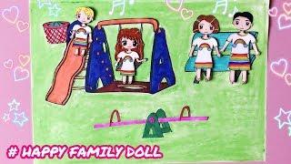 Hướng dẫn làm CÔNG VIÊN VUI CHƠI 🌳 cho GIA ĐÌNH BÚP BÊ bằng giấy - Family Paper Doll