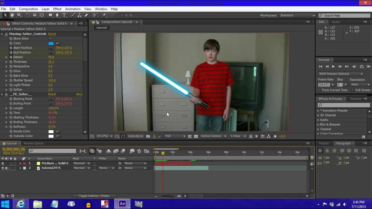 ... make a Lightsaber Effect in Adobe After Effects CS6 (EASY) - YouTube