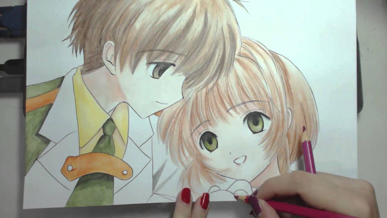 Speed Drawing Syaoran And Sakura Card Captor Sakura Youtube