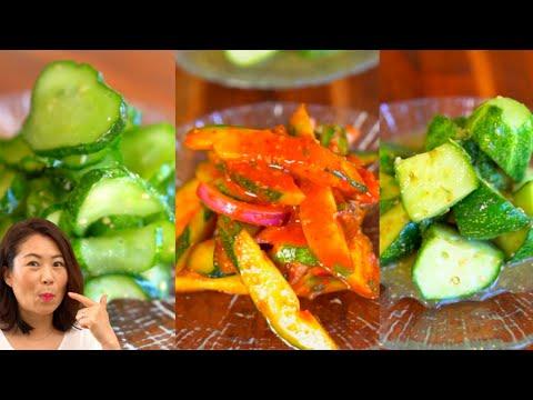 Korean Cucumber Side Dishes: 1 Spicy + 2 Non-Spicy (Oi muchim: Seasoned Cucumber) 오이무침 3가지 + 꿀팁